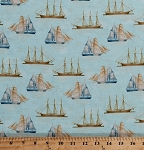 Cotton Vintage Tall Ships Water Sailing Sailors Antique Brigantine Clipper Schooner Sailboats Nautical Maritime Ocean Sea Travel Transportation Cotton Fabric Print by the Yard (42268-2)