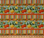 Cotton Oranges Lemons Limes Citrus Fruits Leaves Vines Stripes Summer Food Kitchen Citrus Grove Striped Cotton Fabric Print by the Yard (4549-25488)