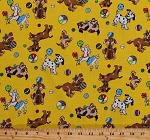 Cotton Dogs Puppy Puppies Playing Balls Dalmatians Poodles Animals Pets Kids Yellow Cotton Fabric Print by the Yard (3878-20487-yel1)