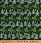 Cotton Christmas Trees Metallic Holiday Fabric Print by the Yard 103-62116