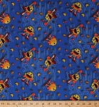 Cotton Pac-Man Pac Man Arcade Video Game Gaming Gamers Maze Fruit Food Ghosts Blue Cotton Fabric Print by the Yard (25343-blu1)