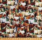 Cotton Horses Allover Equestrian Farm Animals Pasture Meadow Roaming Wild Cotton Fabric Print by the Yard (30170-721)