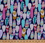 Cotton Feathers Birds Pink Purple Turquoise Gold Metallic Shimmer Plumes on Midnight Blue Girls Plucked Cotton Fabric Print by the Yard (mc6986-midn-d)
