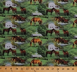 Cotton Horses Equestrian Foal Animals Barns Stables Pastures Wild Wings Horse Scenic Green Cotton Fabric Print by the Yard (66441-A620715)
