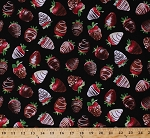 Cotton Chocolate Covered Strawberries Strawberry Food Fruit Dessert Kitchen Culinary Red Black Cotton Fabric Print by the Yard (food-c1691-chocolate)