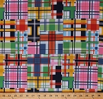 Cotton Plaid Squares Colorful Checked Patchwork-Look Madras Patch Summer Cotton Fabric Print by the Yard (DC5609-SUMM-D)