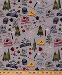Cotton Boy Scouts of America BSA Council Camps Reservations Camping Equipment Backpacks Lanterns Ax Axes Compass Rose Campfires Trees Outdoors Nature Modern Scouting Gray Cotton Fabric Print by the Yard (c6200-gray)