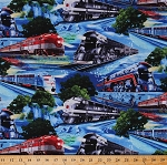 Cotton Modern Trains Train Transportation Winter Snow Mountains Scenic Blue Cotton Fabric Print by the Yard (MICHAEL-C6730-BLUE)