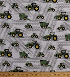 John Deere Little Farm Tractors Farming Combine Harvester Tire Tracks Cotton Fabric Print by the Yard (59371-A620715)