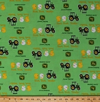 John Deere Duck Tractor Green Tractors Farming Cotton Fabric Print by the Yard (54810-6470715)