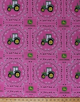 John Deere Bandana Tractor Tractors Logo Pink Floral Flowers Cotton Fabric Print by the Yard (54814-C470715)