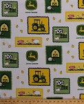 John Deere Farm Scene Patches Tractor Logo Chickens Cows Barns Sheep Farm Animals Farmer Farming Cotton Fabric Print by the Yard (55575-6470715)