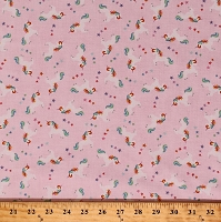Cotton Unicorns Stars Animals Mythical Fairytales Fairy Tale Kids Girls Cotton Fabric Print by the Yard (GAIL-C5610-PINK)