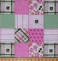 Cotton John Deere Logos Tractors Patchwork Plaids Stripes Flowers Girls Pink Green Cotton Fabric Print by the Yard (5825S-7Bpink)