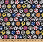 Cotton Sports Soccer Balls Ball Multi Color Cotton Fabric Print by the Yard (276-BLACK)