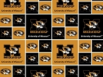Cotton University of Missouri Tigers College Cotton Fabric Print - smo020s