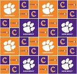 Cotton Clemson University Tigers College Team Cotton Fabric Print (clem-020)