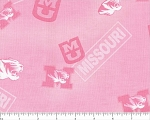 Cotton Pink University of Missouri Tigers Mizzou College Team Sports Cotton Fabric Print by the Yard (mo128)