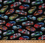 Cotton Racecars Race Cars Auto Racing Vehicles Automobiles Sports Fast Track Black Cotton Fabric Print by the Yard (1173-98)