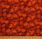 Cotton Packed Basketballs Balls Sports Orange Cotton Fabric Print by the Yard (221orange)