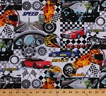 Cotton Auto Racing Race Cars Racecars Race Track Speedometers Checkered Flags Helmets Extreme Sports IV Cotton Fabric Print by the Yard (06570-99)