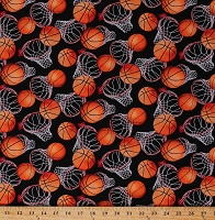 Cotton Basketballs Balls Basketball Hoops on Black Sports Cotton Fabric Print by the Yard (5862)