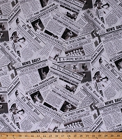 Cotton Newspapers Sports Page News Headlines Newsprint Black and White Cotton Fabric Print by the Yard (4091)