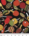 Cotton Ping Pong Paddles Balls Sports Games Cotton Fabric Print by the Yard (05872-12)