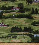 Cotton Golf Course Trees Houses Bunkers Ponds Flags Golfing Sports On the Green Scenic Landscape Cotton Fabric Print by the Yard (21683-76)