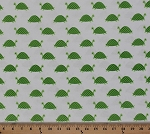 Cotton Seaworthy Cute Green Turtles on White Cotton Fabric Print by the Yard (jl-317-white)