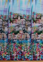 Cotton Italy Venice Italian City Landscape Buildings Canals Boats Spring Flowers Floral Travel Wanderlust Blossom Cotton Fabric Print by the Yard (Q4442-448-BLOSSOM)