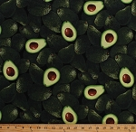 Cotton Avocado Avocados Fruits Vegetables Food Kitchen Farmer's Market Cooking Green Cotton Fabric Print by the Yard (FOOD-C9488-GREEN)