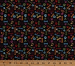 Cotton Dog Bones Paw Prints Pawprints Paws Dogs Animals Pets Faithful Friend Black Cotton Fabric Print by the Yard (8935-099black)