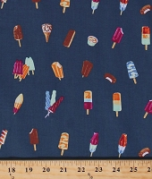 Cotton Ice Cream Cones Bars Sandwiches Popsicles Creamsicles Frozen Summer Treats Food on Navy Blue Cotton Fabric Print by the Yard (P4377-19-NAVY)