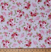 Cotton Roses Bees Honeybees Flowers Floral Pink Tea Rose Honeycomb Hexagons Fidelia Light Purple Spring Cotton Fabric Print by the Yard (Y2076-26lightpurple)