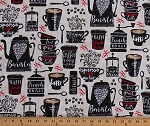 Cotton Coffee Cups Mugs Coffee Beans Pots French Press Coffee Names Cafe Barista Coffeehouse Kitchen Cream Black Red Cotton Fabric Print by the Yard (GAIL-C5201-CREAM)