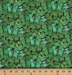 Cotton Landscape Medley Leaves Leaf Foliage Green Cotton Fabric Print by the Yard (498-GREEN)