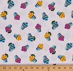 Cotton Happy Birthday Cupcakes Cupcake Caterpillars Caterpillar on White Cotton Fabric Print by the Yard (A-5876-M)