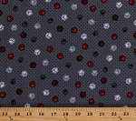 Cotton Paw Prints Dogs Doggies Puppies Animals Hearts Polka Dots Canine Gray Black Red White Scottie Love Cotton Fabric Print by the Yard (08512-11)