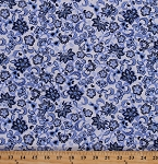 Cotton Flowers Paisley Floral Botanical Leaves Blue Clues White Cotton Fabric Print by the Yard (3993-47996-Blue)