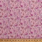 Cotton Flamingos Flamingo Pink Birds Tropical Palm Trees Wildlife Haute Zahara Cotton Fabric Print by the Yard (PWDF267-MULTI)