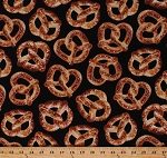 Cotton Soft Pretzels Twists Salty Snacks Bakery Carnival Food on Black Cotton Fabric Print by the Yard (food-c5643)