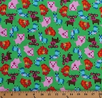 Cotton Farm Animals Cows Pigs Horses Roosters Kids Barnyard Green Cotton Fabric Print by the Yard (ZD-71372-002)