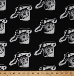 Cotton Retro Telephones Rotary Dial Phones Old Fashioned Antiques Vintage Scrapbook Black and White Cotton Fabric Print by the Yard (03714-12)
