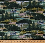 Cotton Fishing Boats Fisherman Angling Fishers Fishermen Lake River Nature Outdoors Trees Green Scenic Landscape Top Rod Al Agnew Cotton Fabric Print by the Yard (5005-multi)