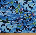 Cotton Killer Whales Orcas Tropical Fish Aquatic Animals Water Ocean Sea Moorish Idols Blue Cotton Fabric Print by the Yard (MICHAEL-C6152-WAVE)