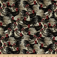 Cotton Country Flock Packed Roosters Farm Fowl Animals Farming Cotton Fabric Print by Yard (61769-A620715)