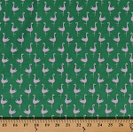 Cotton Flamingos Birds on Green Cotton Fabric Print by the Yard (jl-462-lime)