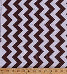 Cotton Medium Chevrons Chevron Zigzag Striped Brown White Cotton Fabric Print by the Yard (C320-90)