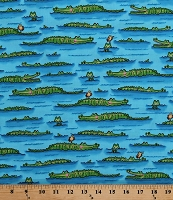 Cotton Australian Crocodiles Alligators Gators Animals on Blue Water Wildife Kids Down Under Cotton Fabric Print (05248-84)